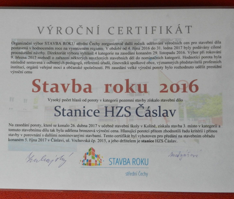 Ocenění pro stanici HZS Čáslav